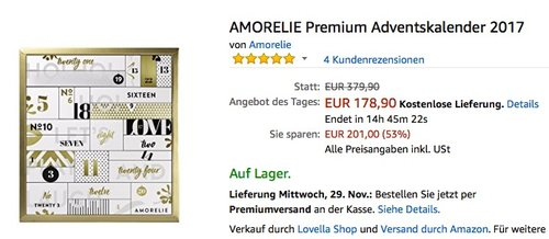 AMORELIE Premium Adventskalender 2017 - jetzt 22% billiger