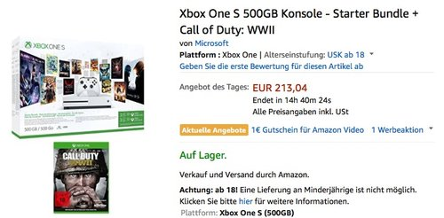Xbox One S 500GB Konsole + Call of Duty: WWII - jetzt 14% billiger