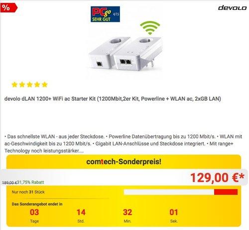devolo dLAN 1200+ WiFi ac Starter Kit - jetzt 14% billiger
