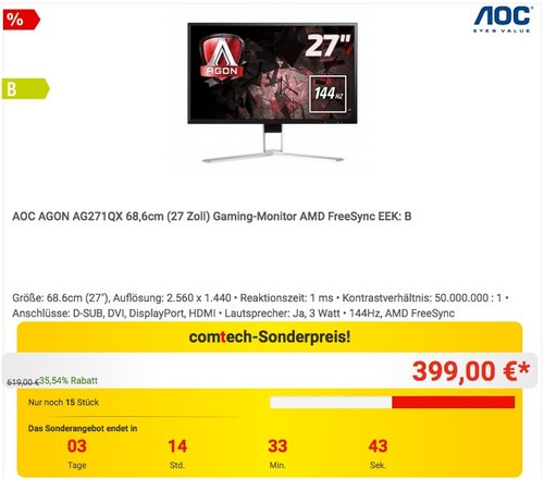 AOC AGON AG271QX 68,58 cm (27 Zoll) Gaming Monitor - jetzt 13% billiger