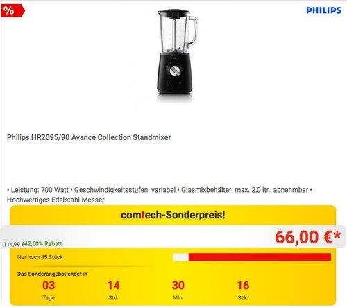 Philips HR2095/90 Avance Collection Standmixer - jetzt 16% billiger