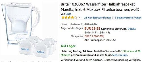 Brita Wasserfilter Marella, inkl. 6 Maxtra+ Filterkartuschen - jetzt 33% billiger