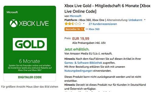 Xbox Live Gold - Mitgliedschaft 6 Monate - jetzt 39% billiger