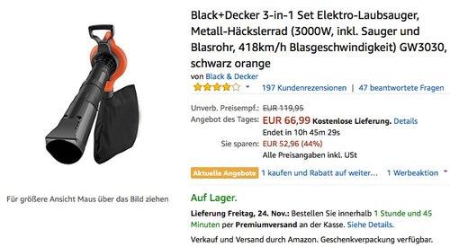 Black+Decker 3-in-1 Set Elektro-Laubsauger, Metall-Häckslerrad GW3030 - jetzt 16% billiger