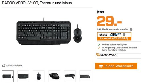 RAPOO VPRO - V100, Tastatur und Maus - jetzt 42% billiger