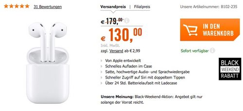 Apple Airpods In-Ear-Kopfhörer  - jetzt 11% billiger
