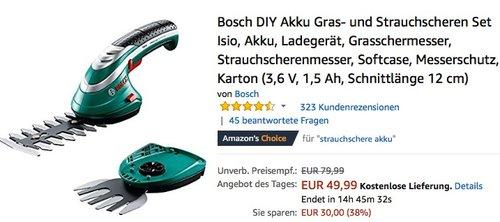 Bosch DIY Akku Gras- und Strauchscheren Set Isio - jetzt 15% billiger