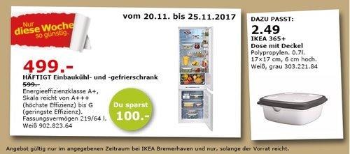 IKEA HÄFTIGT Einbaukühl- und - Gefrierschrank - jetzt 17% billiger