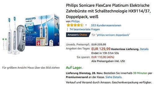 Philips Schallzahnbürste HX9114/37 Sonicare Platinum Zahnbürste Doppelpack - jetzt 26% billiger