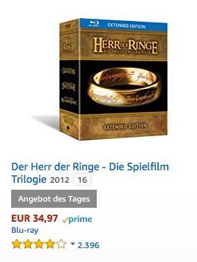 Der Herr der Ringe - Die Spielfilm Trilogie (Extended Edition) [Blu-ray] - jetzt 24% billiger