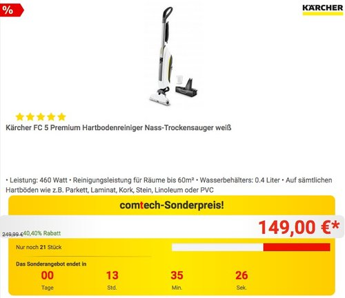 Kärcher FC 5 Premium Hartbodenreiniger Nass-Trockensauger - jetzt 21% billiger