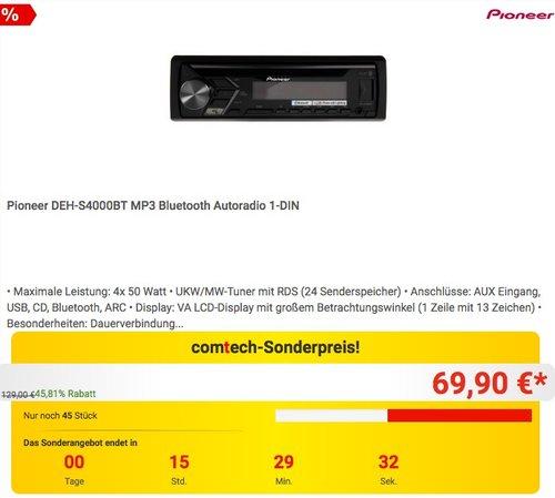 Pioneer DEH-S4000BT MP3 Bluetooth Autoradio - jetzt 22% billiger