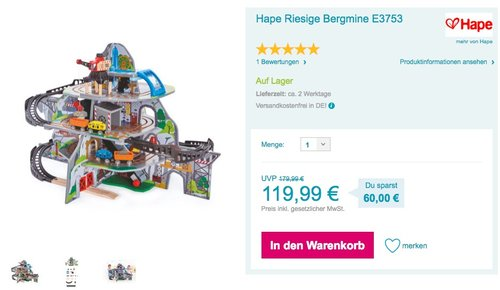 "Hape E3753 Kleinkindspielzeug ""Riesige Bergmine"" - jetzt 8% billiger"