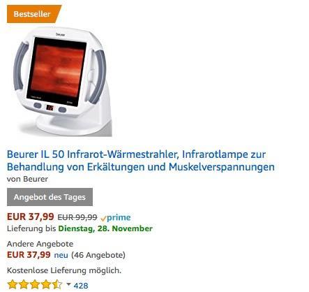 Beurer IL 50 Infrarot-Wärmestrahler - jetzt 17% billiger