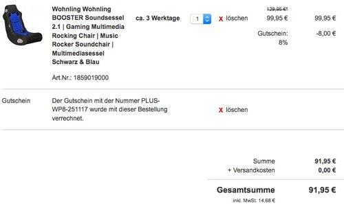 WOHNLING Soundchair BOOSTER 2.1 - jetzt 29% billiger
