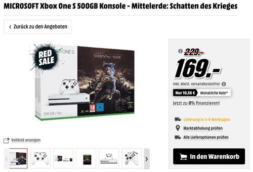 MICROSOFT Xbox One S 500GB Konsole - Mittelerde: Schatten des Krieges - jetzt 23% billiger