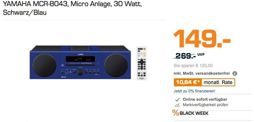 Yamaha MCR-B043BU Mikro-Komponent System blau - jetzt 35% billiger