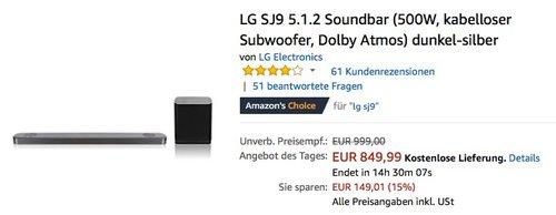 LG SJ9 5.1.2 Soundbar  - jetzt 14% billiger