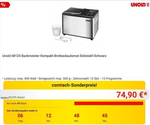 Unold 68125 Backmeister Kompakt Brotbackautomat - jetzt 17% billiger