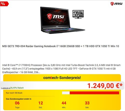 MSI GE73 7RD-004 Raider Gaming Notebook - jetzt 22% billiger