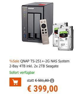 Qnap TS-251+ 2.0GHz 2-Bay NAS Server 4TB Bundle - jetzt 11% billiger