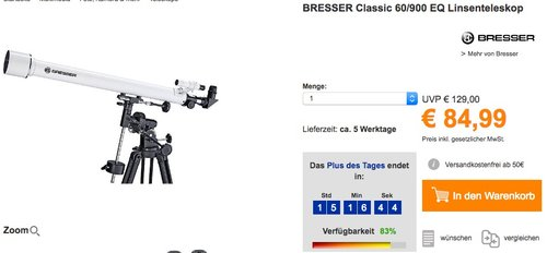 BRESSER Classic 60/900 EQ Linsenteleskop - jetzt 19% billiger