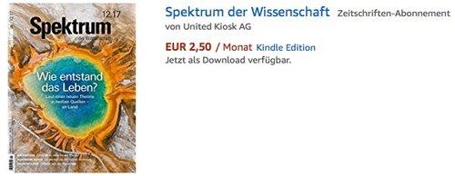 Spektrum der Wissenschaft Kindle Edition - jetzt 58% billiger