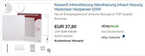 Kesser Infrarot Wandheizung Infrarotheizung Heizkörper 425 W - jetzt 23% billiger