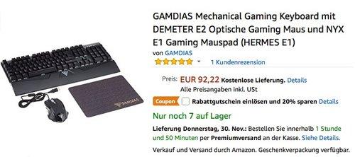 GAMDIAS Mechanical Gaming Keyboard mit DEMETER E2 Optische Gaming Maus und NYX E1 Gaming Mauspad (HERMES E1) - jetzt 20% billiger