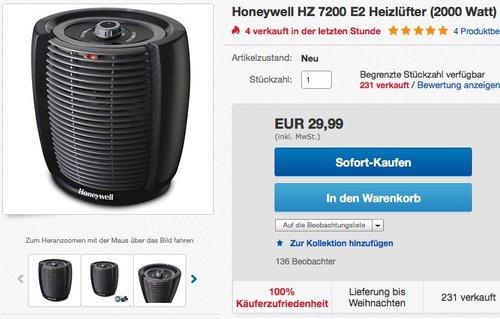 Honeywell HZ7200E2 Schnellheizlüfter - jetzt 25% billiger