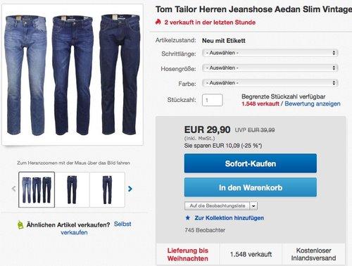 Tom Tailor Herren Jeanshose Aedan Slim Vintage  - jetzt 25% billiger