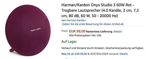 HARMAN KARDON Onyx Studio 3 Bluetooth Lautsprecher - jetzt 34% billiger