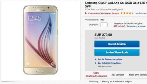 Samsung G920F GALAXY S6 32GB Gold - jetzt 15% billiger