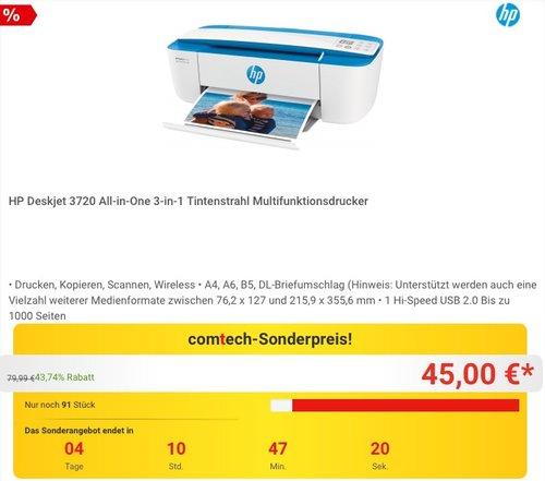 HP Deskjet 3720 Multifunktionsdrucker - jetzt 18% billiger
