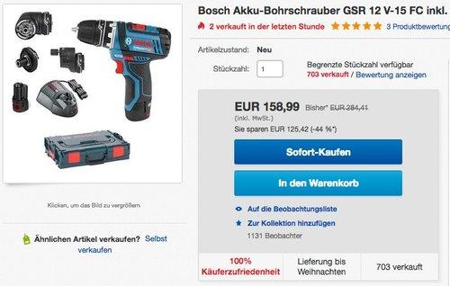 Bosch Professional GSR 12V-15 FC Akku-Bohrschrauber - jetzt 12% billiger