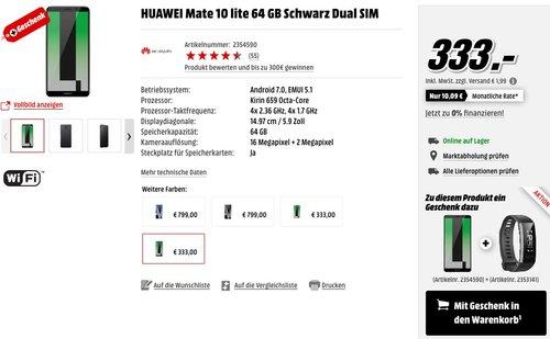 Huawei Mate 10 Lite Dual-Sim Smartphone 64GB Schwarz + HUAWEI Band 2 Pro Fitnesstracker - jetzt 19% billiger