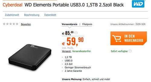 WD Elements Portable externe Festplatte USB 3.0 1,5TB - jetzt 8% billiger