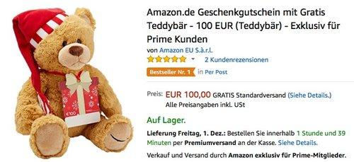 Amazon.de 100 EUR Geschenkgutschein mit Gratis Teddybär  - Exklusiv für Prime Kunden  - jetzt 0% billiger