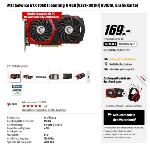 MSI GeForce GTX 1050Ti Gaming X 4GB (V335-001R) - jetzt 17% billiger