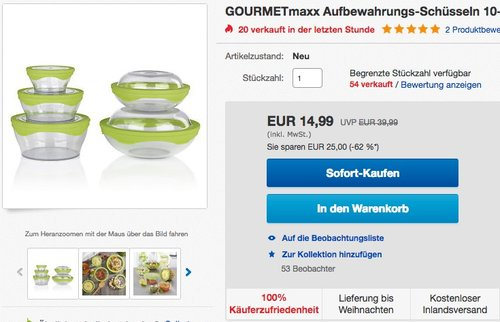 GOURMETmaxx 06227 Aufbewahrungsschüssel-Set 10-teilig  - jetzt 50% billiger