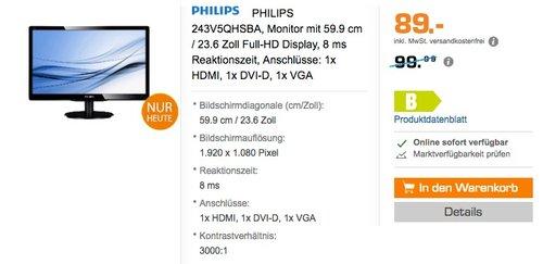 PHILIPS 243V5QHSBA 59,9cm Monitor  - jetzt 11% billiger