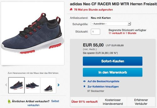 adidas Neo CF RACER MID WTR Herren Freizeitschuh - jetzt 24% billiger