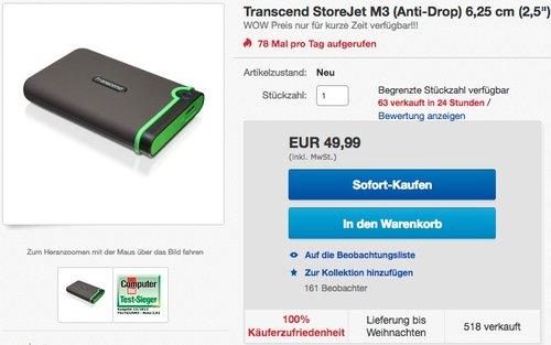 Transcend StoreJet M3 Anti-Shock 1TB externe Festplatte - jetzt 14% billiger