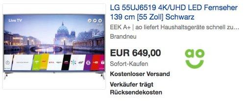LG 55UJ6519 4K/UHD LED Fernseher 139 cm [55 Zoll] - jetzt 16% billiger