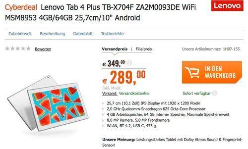 Lenovo Tab4 10 Plus ZA2M0093DE 25,65 cm (10,1 Zoll Full HD IPS Touch) Tablet-PC - jetzt 17% billiger