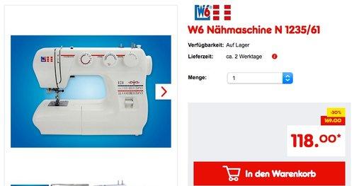 W6 Nähmaschine N 1235/61 - jetzt 9% billiger