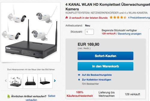 InkoVideo Komplettset WLAN Set / 4 Kanal Netzwerkrekorder mit 4 x HD kamera - jetzt 13% billiger