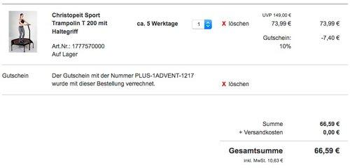 Christopeit Sport Trampolin T 200 mit Haltegriff - jetzt 15% billiger
