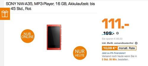 Sony NW-A35 High-Resolution Walkman  - jetzt 31% billiger