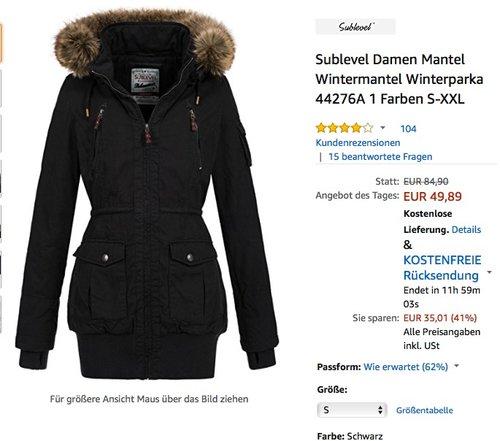 Sublevel Damen Wintermantel Winterparka - jetzt 29% billiger